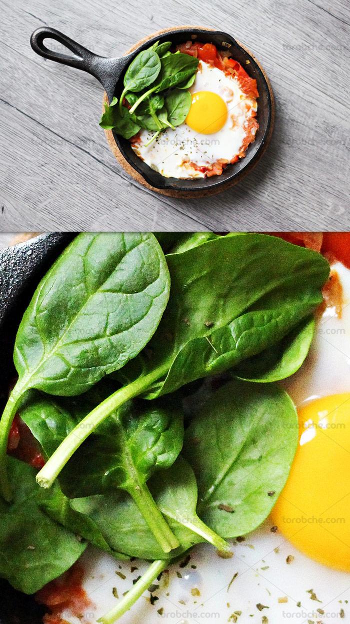 عکس با کیفیت املت گوجه و تخم مرغ در ماهی تابه