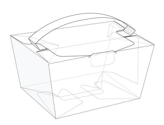 وکتور طرح بسته بندی جعبه کیک با خط برش و صفحه گسترده