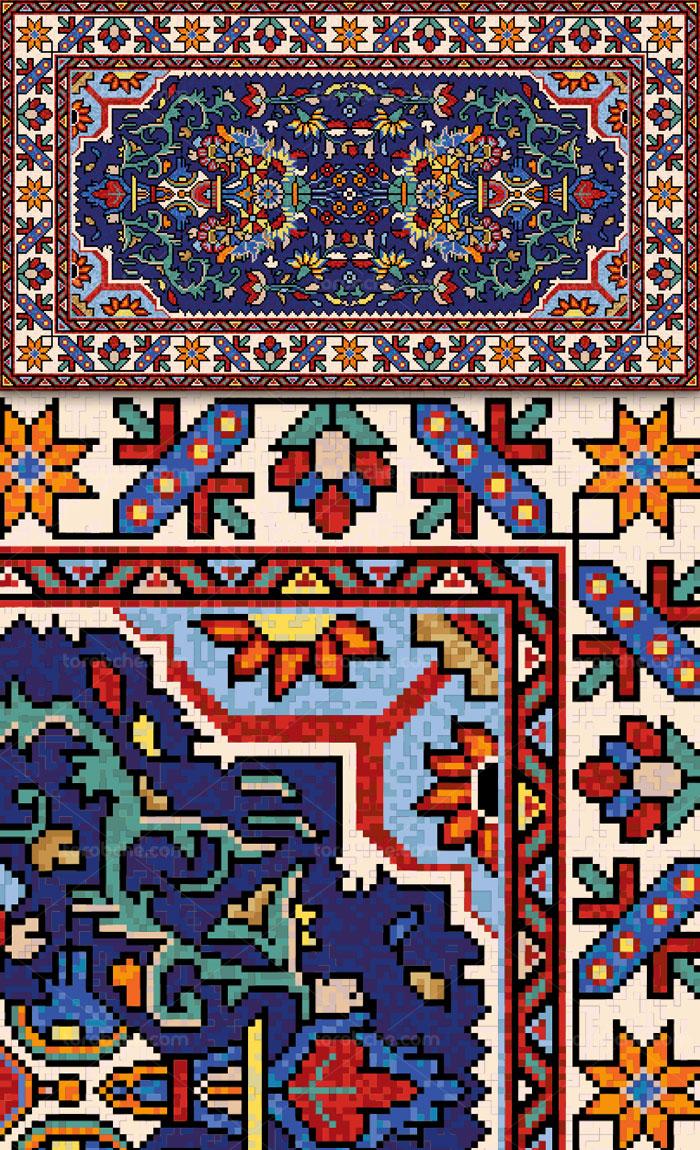 نقشه گلیم سنتی وکتور طرح نقشه فرش و گلیم سنتی ایرانی قدیمی - گرافیک با ...