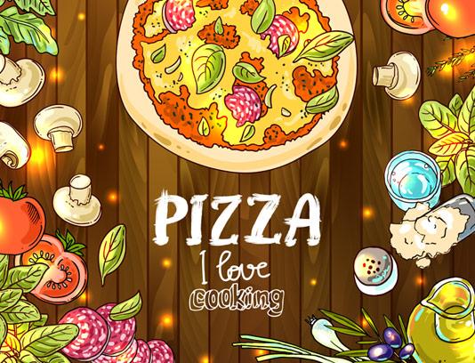 وکتور پیتزا و مواد اولیه برای تهیه پیتزا با زمینه چوبی