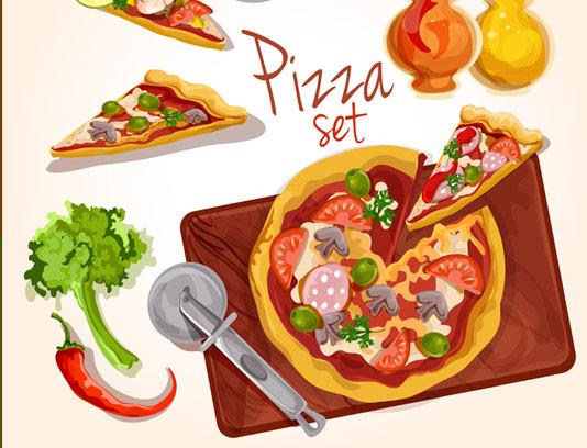 وکتور طرح با کیفیت پیتزا و مواد اولیه فلفل، سس