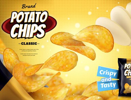 وکتور طرح تبلیغاتی لایه باز چیپس سیب زمینی