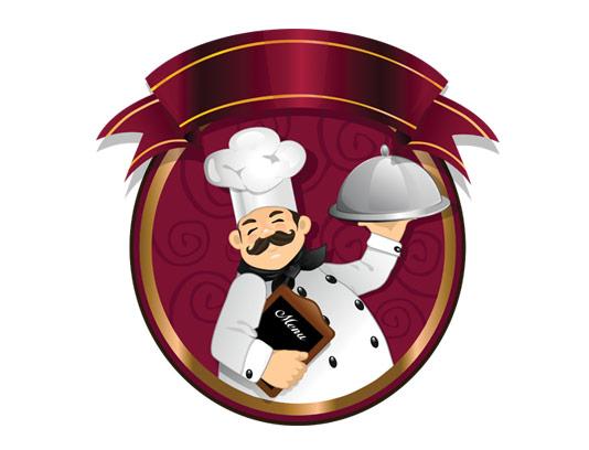 وکتور طرح لوگوی رستوران و تهیه غذا با کاراکتر سرآشپز