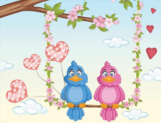 وکتور طرح پرندگان کارتونی رمانتیک