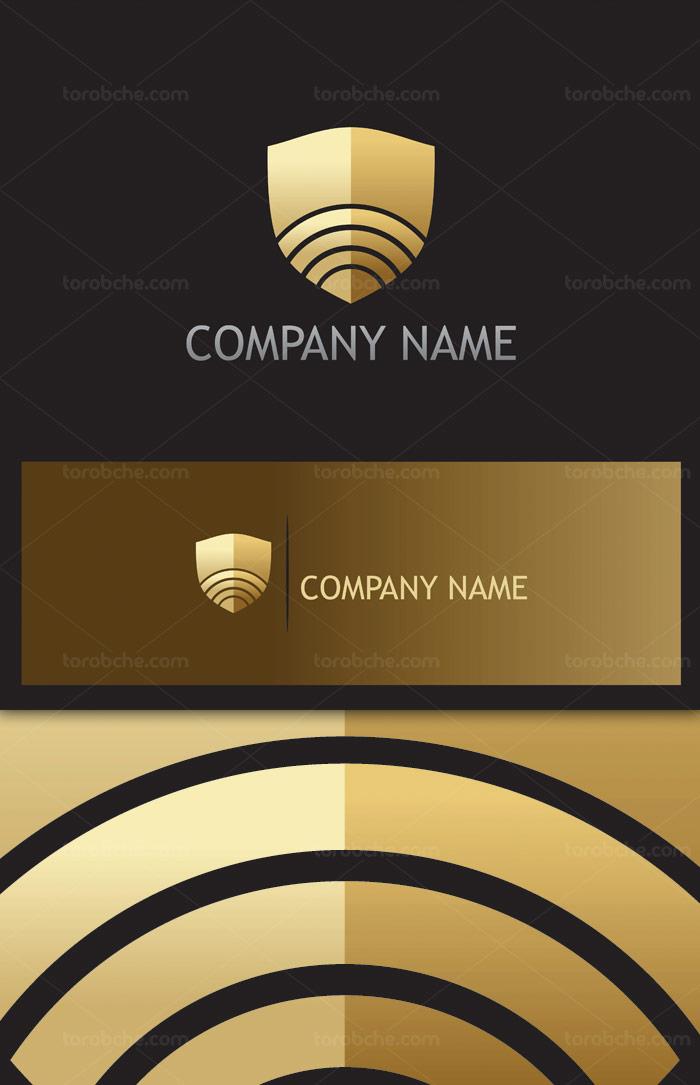 وکتور طرح لوگوی گارد طلایی رنگ دیجیتال