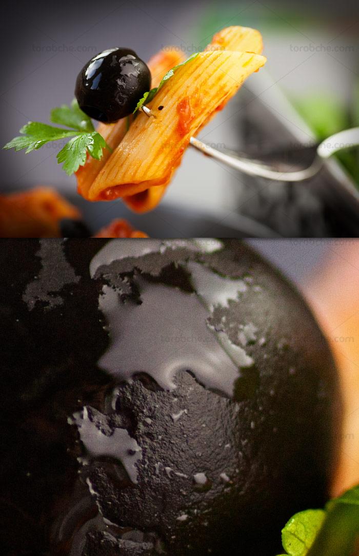 عکس با کیفیت اسپاگتی با زیتون سیاه