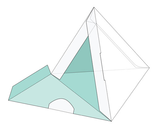 وکتور طرح صفحه گسترده بسته بندی جعبه سه گوش مثلثی