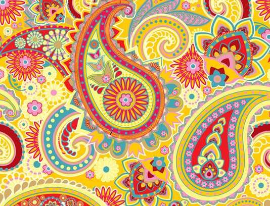 وکتور پترن و بکگراند سنتی بته جغه با رنگ های گرم و روشن