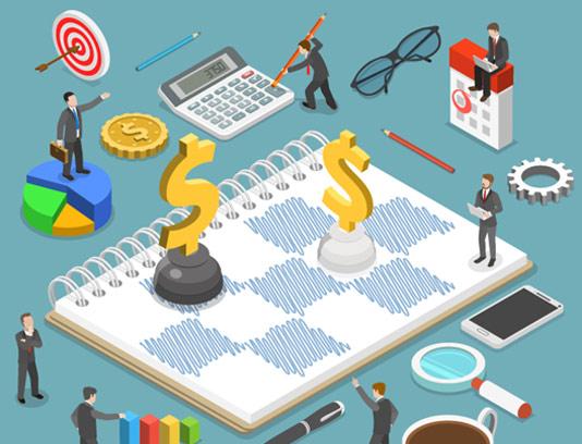 وکتور طرح مفهمومی استراتژی های مالی کسب و کار