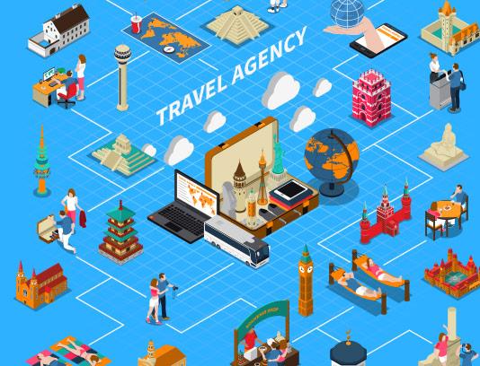 وکتور طرح مفهومی آژانس مسافرتی فلت و ایزومتریک