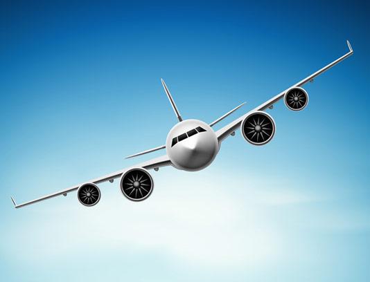 وکتور طرح هواپیمای در حال پرواز در آسمان آبی