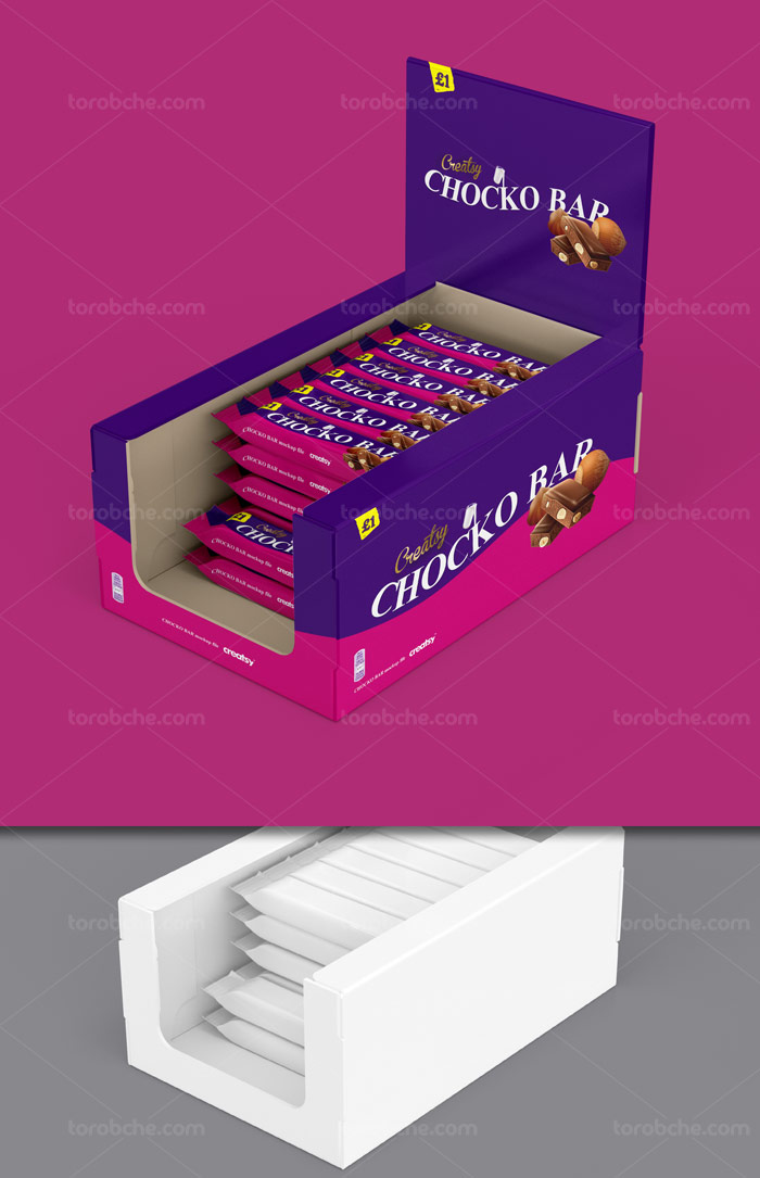 طرح لایه باز موکاپ بسته بندی شکلات و جعبه پیشخوان