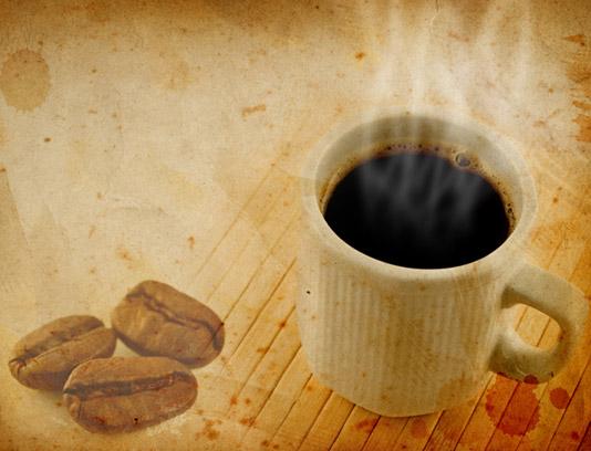 تکسچر و بکگراند گرانج با طرح فنجان و دانه های قهوه