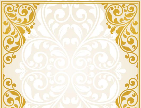 وکتور طرح قاب و حاشیه گل و بته تزئینی طلایی رنگ