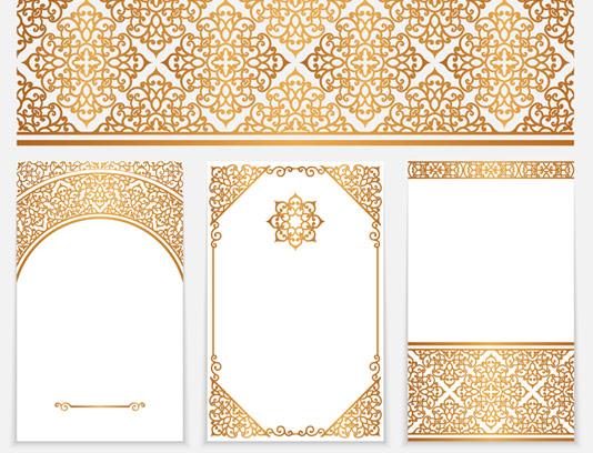 وکتور طرح نقش و نگارهای سنتی طلایی کادر و حاشیه