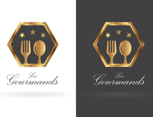 وکتور طرح لوگوی رستوران طلایی لاکچری