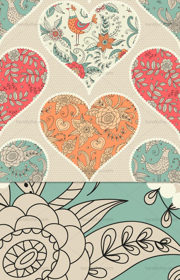 وکتور پترن قلب با نقوش سنتی وصله شده پارچه ای