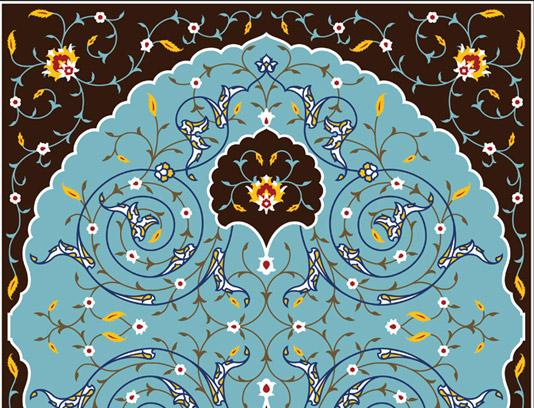 وکتور طرح کاشی کاری اسلامی شماره ۲۰۴