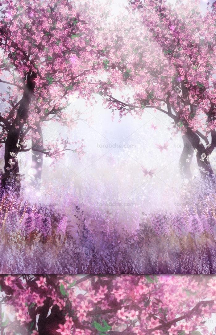 طرح بکگراند و پس زمینه رویایی با شکوفه ها