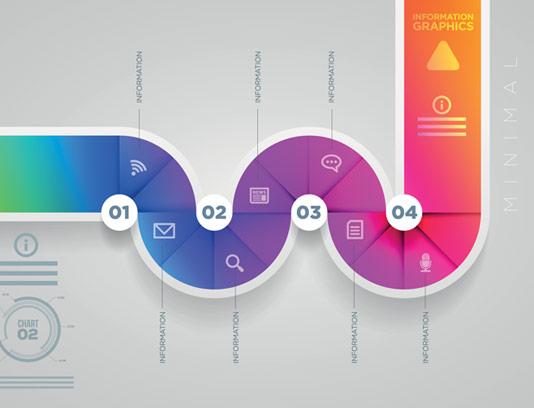 وکتور طرح اینفوگرافیک مارپیچ چهار قسمتی مرحله ای