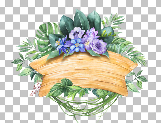 عکس دوربری شده تابلوی چوبی با گل و برگ های سبز