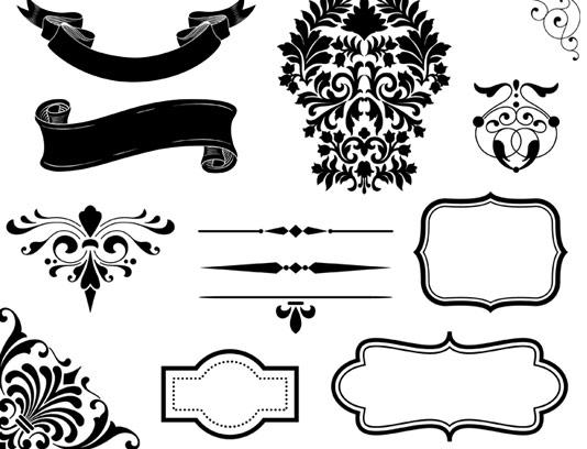 وکتور مجموعه المان های طراحی کلاسیک و سنتی