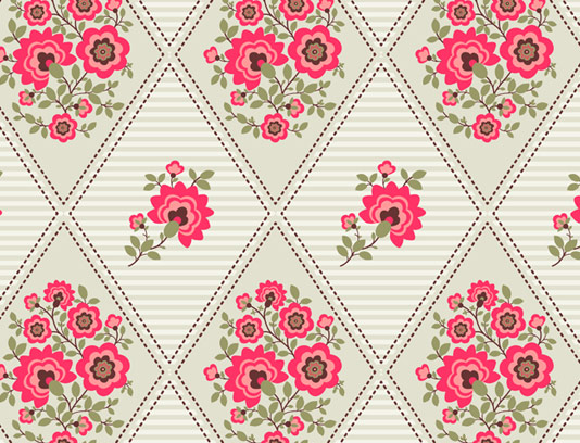 وکتور طرح پترن پارچه ای با گل و بته های صورتی رنگ