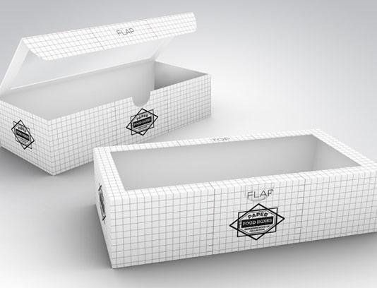 طرح لایه باز موکاپ بسته بندی جعبه غذا با پنجره تلقی