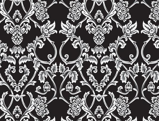 وکتور طرح پترن کاغذ دیواری با گل و بته های کلاسیک