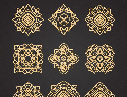 وکتور طرح المان های تزئینی طلایی رنگ مجزا