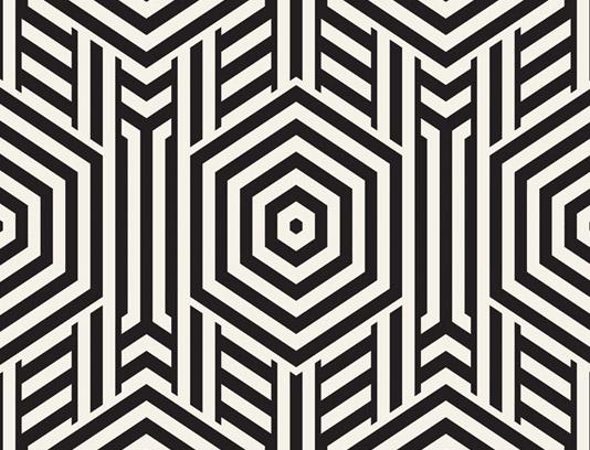 وکتور طرح پترن سیاه و سفید شش ضلعی