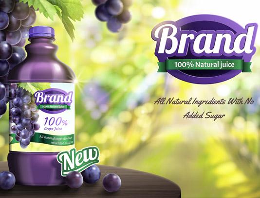 وکتور طرح لایه باز تبلیغاتی آبمیوه انگور تازه