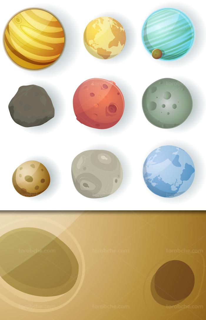 وکتور سیاره های مختلف به شکل کارتونی