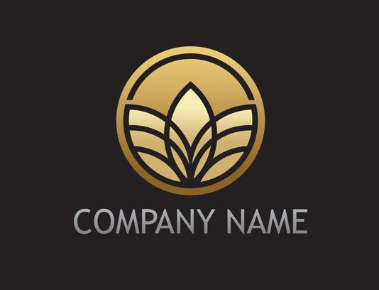 وکتور طرح لوگوی برگ های طلایی رنگ