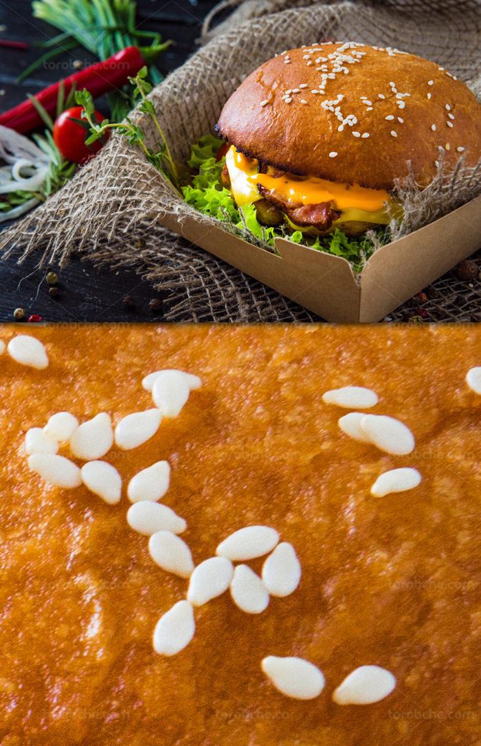 عکس با کیفیت ساندویچ همبرگر گوشت با پنیر گودا