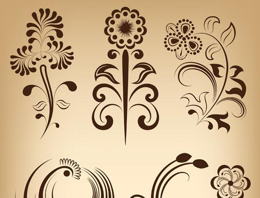 وکتور طرح مجموعه المان های گل و بته ای سنتی