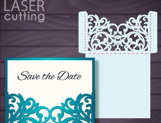 وکتور طرح کارت دعوت عروسی با برش لیزر شماره 04