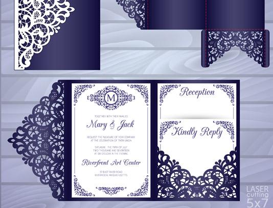 وکتور طرح برش لیزر کارت دعوت عروسی شماره ۰۱
