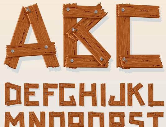 وکتور طرح حروف انگلیسی به صورت چوبی