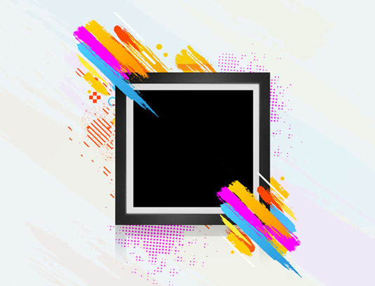 طرح لایه باز قاب عکس انتزاعی مربعی شکل