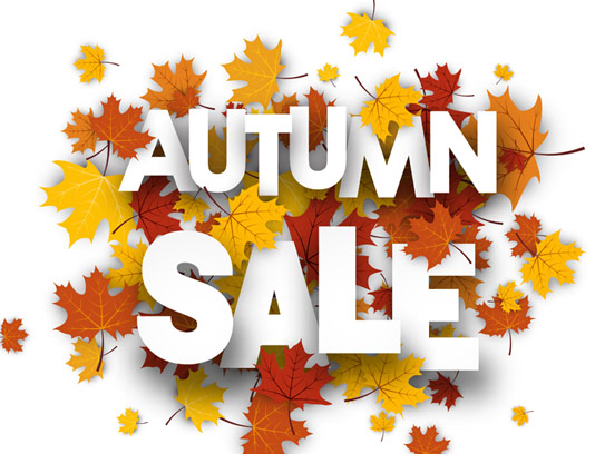 وکتور برچسب فروش پاییزی با زمینه برگ های رنگی