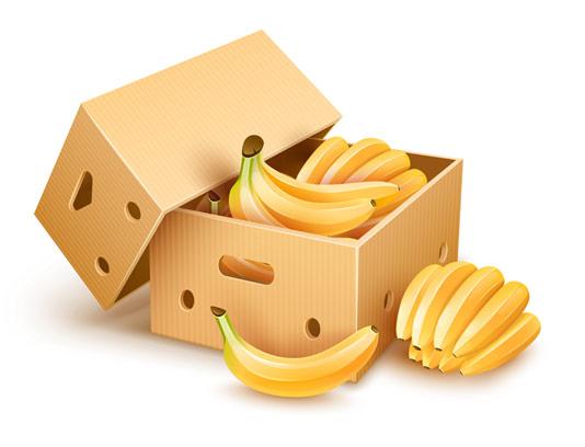 وکتور طرح جعبه کارتنی میوه موز