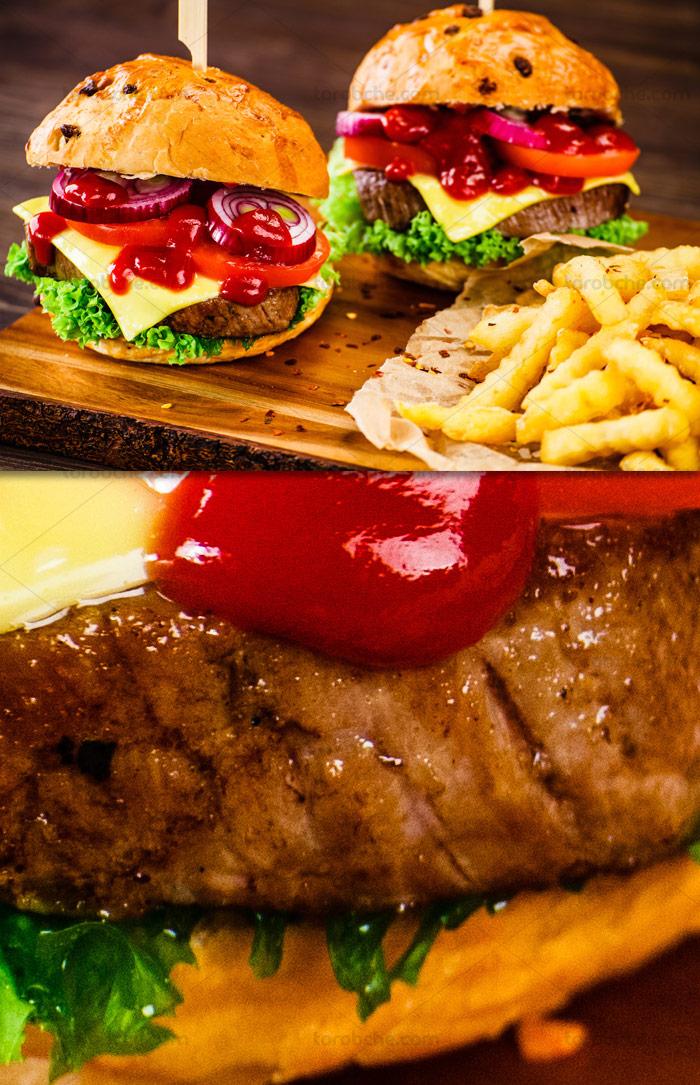 عکس با کیفیت ساندویچ همبرگر و سیب زمینی سرخ شده