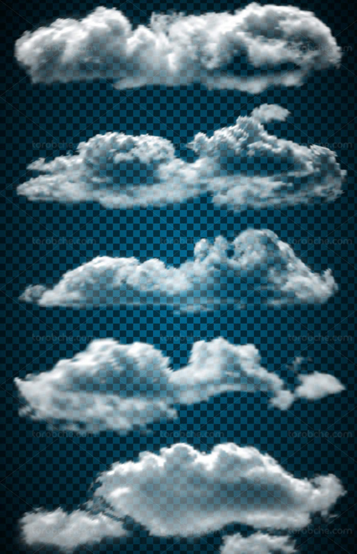 وکتور ابر های آسمانی بدون پس زمینه