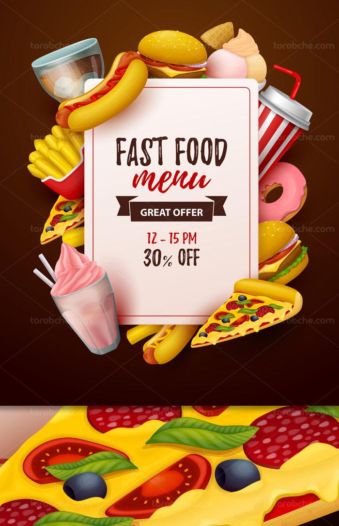 وکتور طرح منوی فست فود با المان های ساندویچ، پیتزا، همبرگر