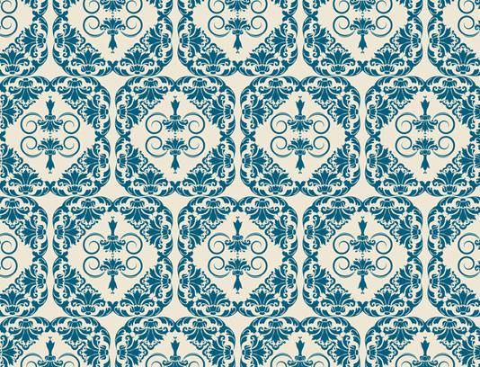 وکتور طرح پترن گل دار متمرکز آبی رنگ