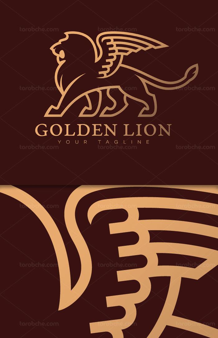 وکتور لوگوی شیر طلایی بالدار EPS