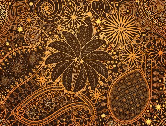 وکتور پترن بته جغه ای طلایی رنگ EPS