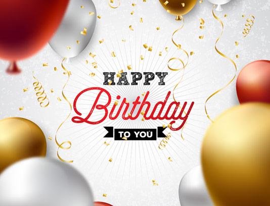 وکتور طرح بنر تبریک تولد با بادکنک و کاغذ رنگی