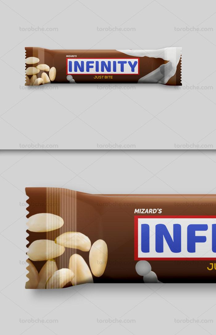 طرح لایه باز موکاپ بسته بندی شکلات مغزدار